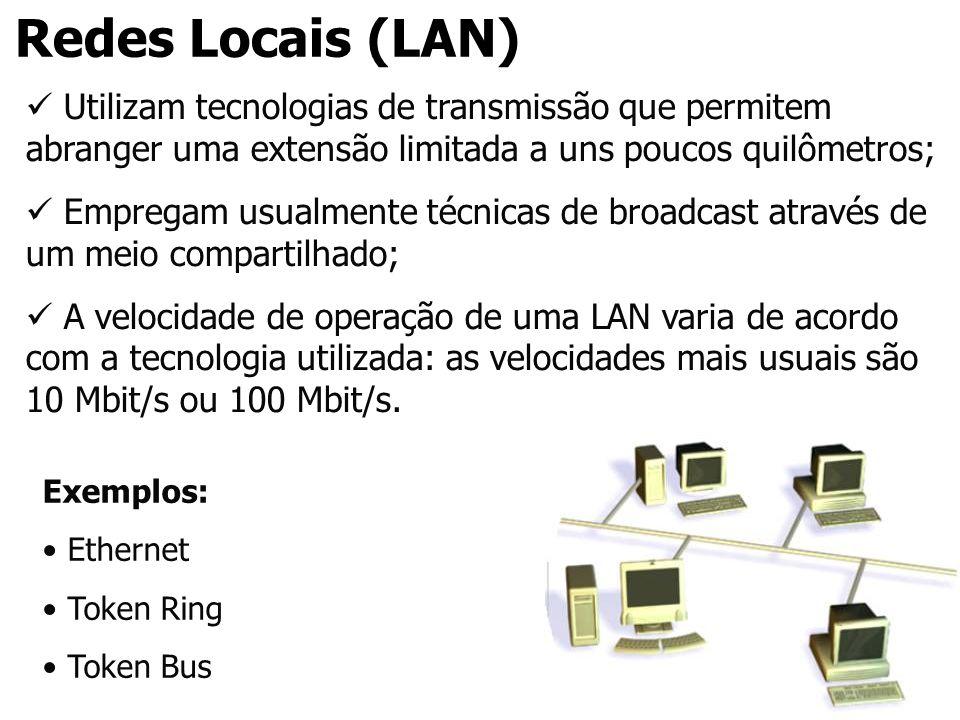 Redes Locais (LAN) Utilizam tecnologias de transmissão que permitem abranger uma extensão limitada a uns poucos quilômetros; Empregam usualmente técni
