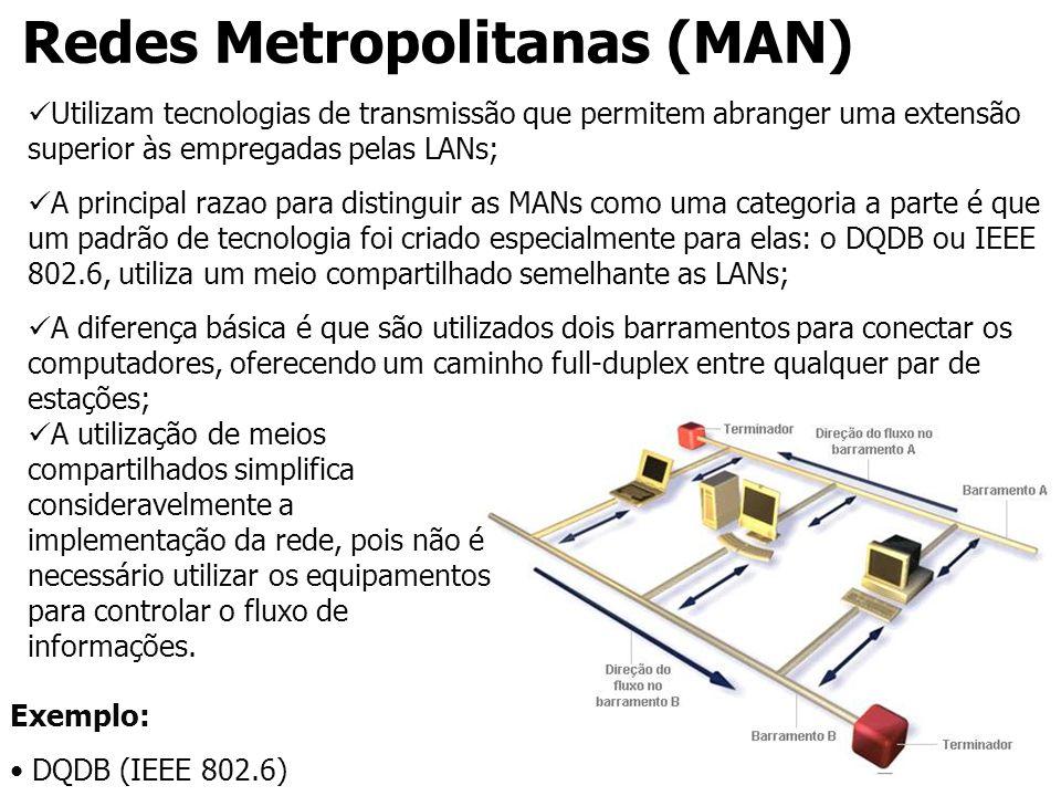 Redes Metropolitanas (MAN) Utilizam tecnologias de transmissão que permitem abranger uma extensão superior às empregadas pelas LANs; A principal razao