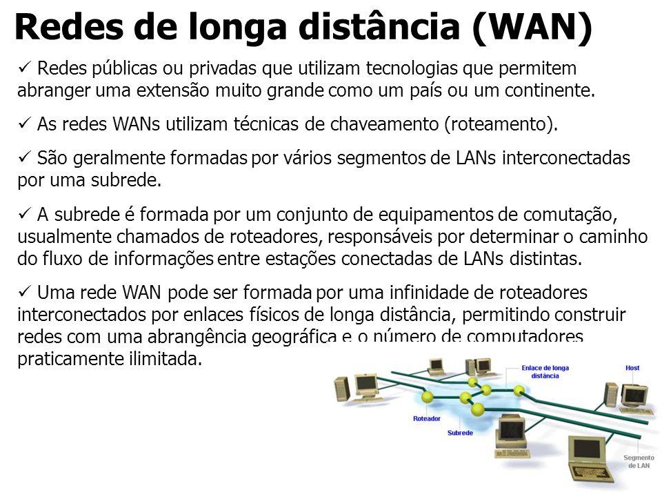 Redes de longa distância (WAN) Redes públicas ou privadas que utilizam tecnologias que permitem abranger uma extensão muito grande como um país ou um
