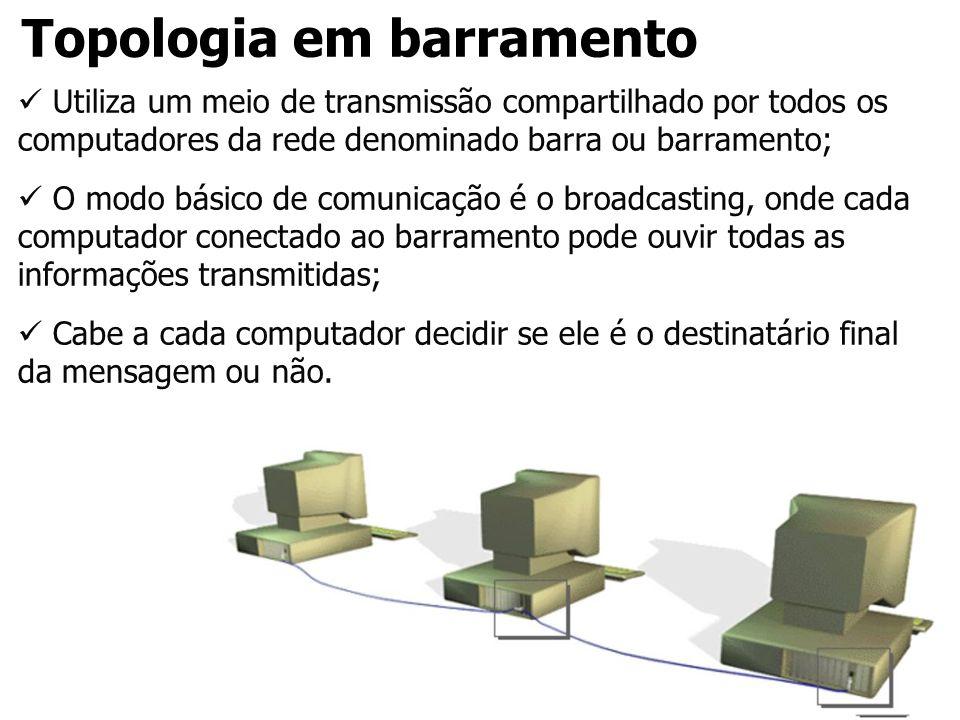 Topologia em barramento Utiliza um meio de transmissão compartilhado por todos os computadores da rede denominado barra ou barramento; O modo básico d