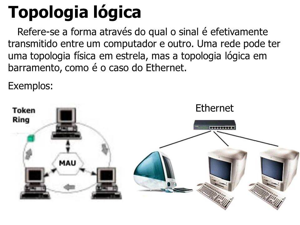 Topologia lógica Refere-se a forma através do qual o sinal é efetivamente transmitido entre um computador e outro. Uma rede pode ter uma topologia fís