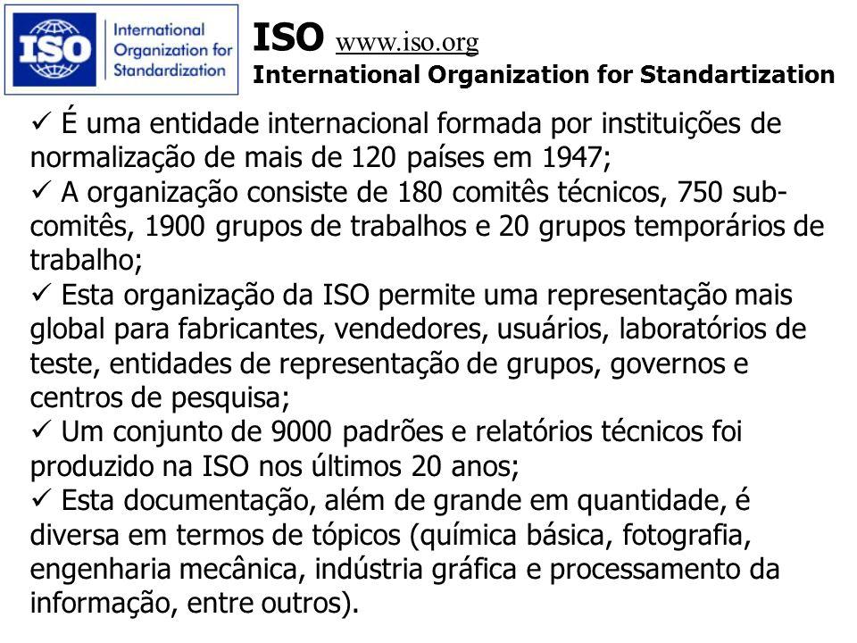 ISO www.iso.org International Organization for Standartization É uma entidade internacional formada por instituições de normalização de mais de 120 pa
