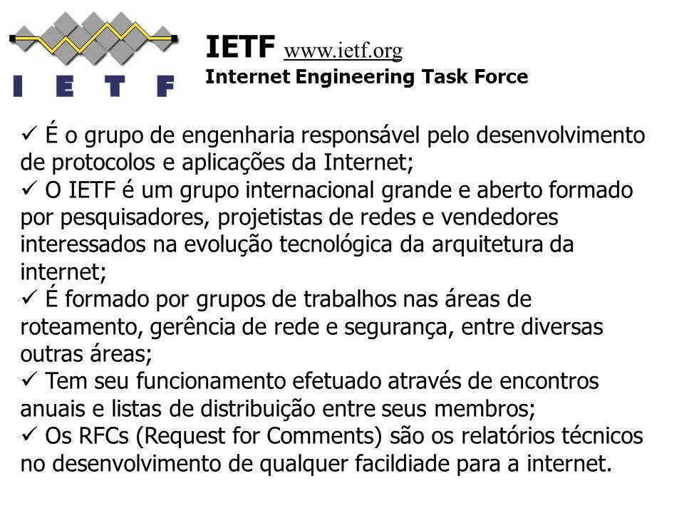 IETF www.ietf.org Internet Engineering Task Force É o grupo de engenharia responsável pelo desenvolvimento de protocolos e aplicações da Internet; O I
