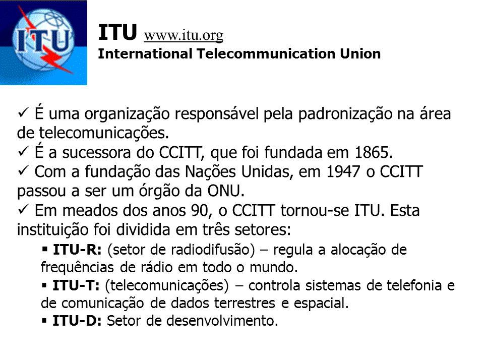 ITU www.itu.org International Telecommunication Union É uma organização responsável pela padronização na área de telecomunicações. É a sucessora do CC