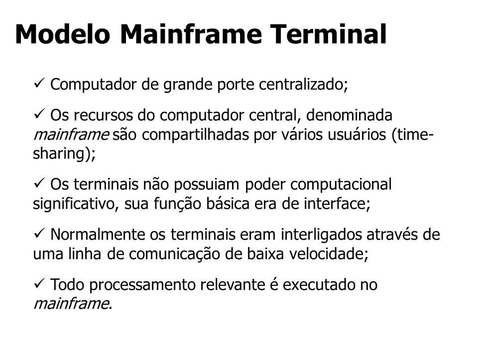 Modelo Mainframe Terminal Computador de grande porte centralizado; Os recursos do computador central, denominada mainframe são compartilhadas por vári