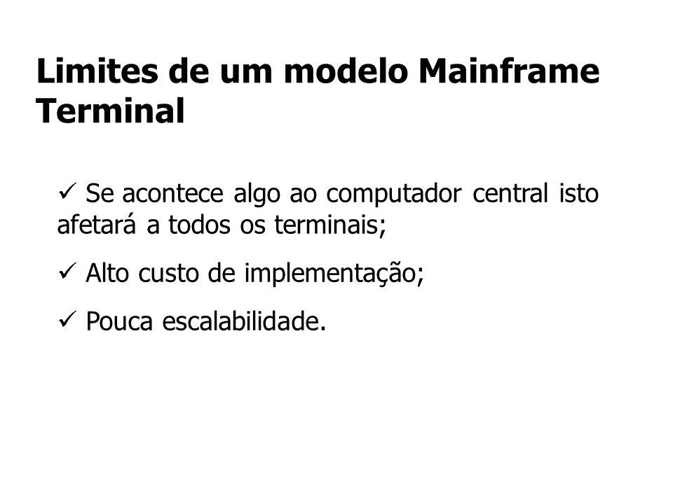 Limites de um modelo Mainframe Terminal Se acontece algo ao computador central isto afetará a todos os terminais; Alto custo de implementação; Pouca e