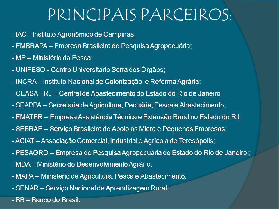 - IAC - Instituto Agronômico de Campinas; - EMBRAPA – Empresa Brasileira de Pesquisa Agropecuária; - MP – Ministério da Pesca; - UNIFESO - Centro Univ
