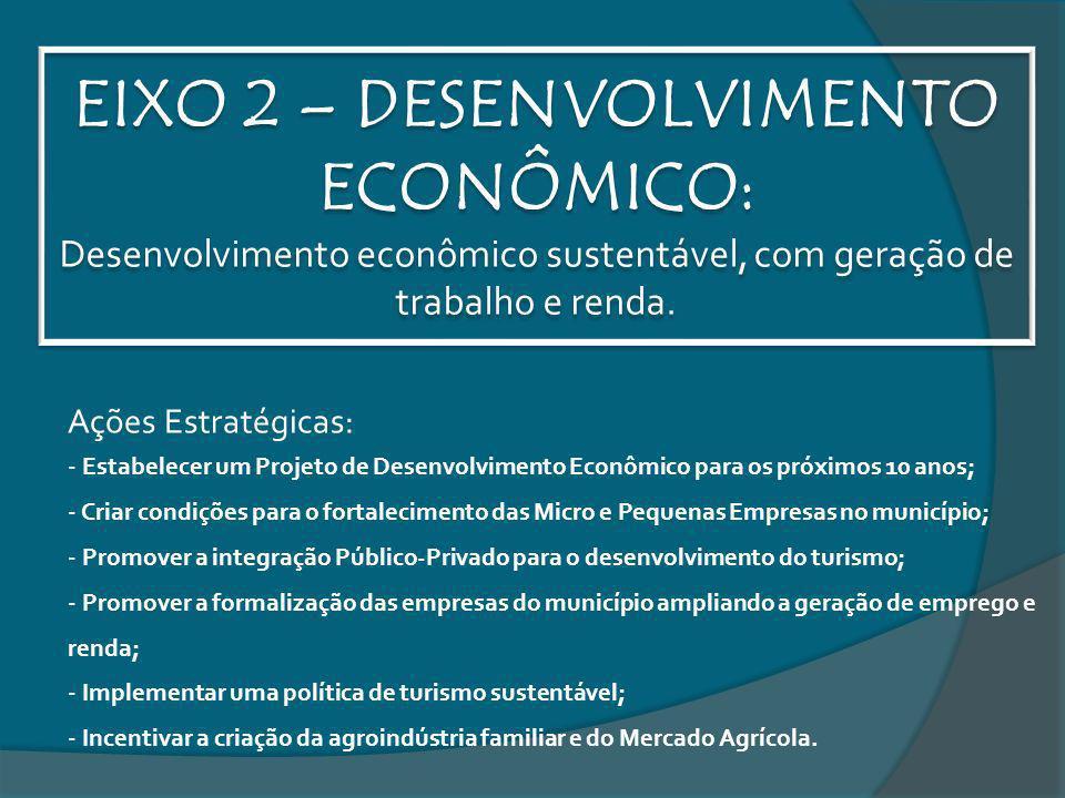 EIXO 2 – DESENVOLVIMENTO ECONÔMICO: Desenvolvimento econômico sustentável, com geração de trabalho e renda. Ações Estratégicas: - Estabelecer um Proje