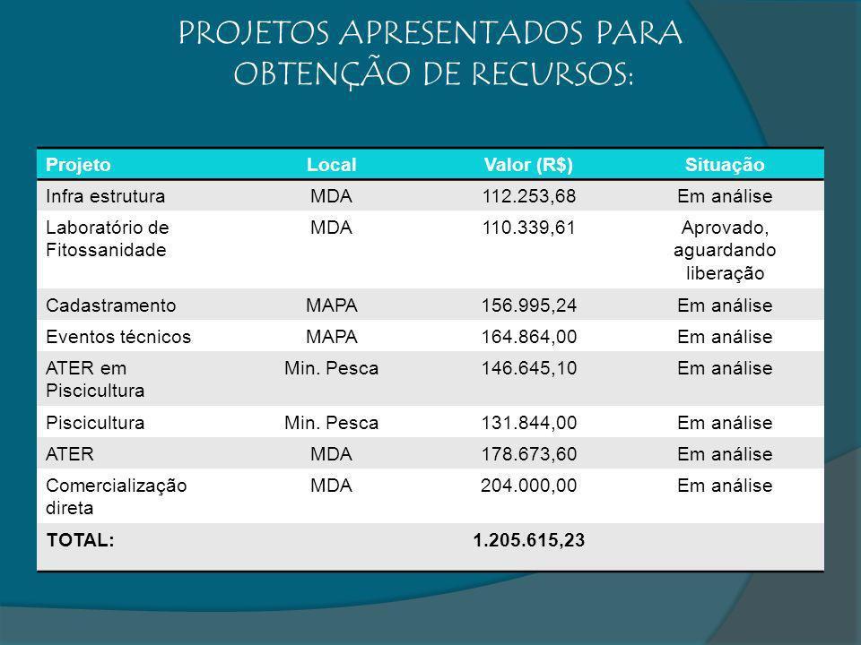 ProjetoLocalValor (R$)Situação Infra estruturaMDA112.253,68Em análise Laboratório de Fitossanidade MDA110.339,61Aprovado, aguardando liberação Cadastr