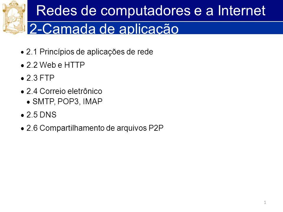 1 Redes de computadores e a Internet 2-Camada de aplicação 2.1 Princípios de aplicações de rede 2.2 Web e HTTP 2.3 FTP 2.4 Correio eletrônico SMTP, PO