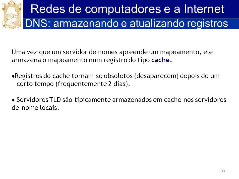 100 Redes de computadores e a Internet Uma vez que um servidor de nomes apreende um mapeamento, ele armazena o mapeamento num registro do tipo cache.
