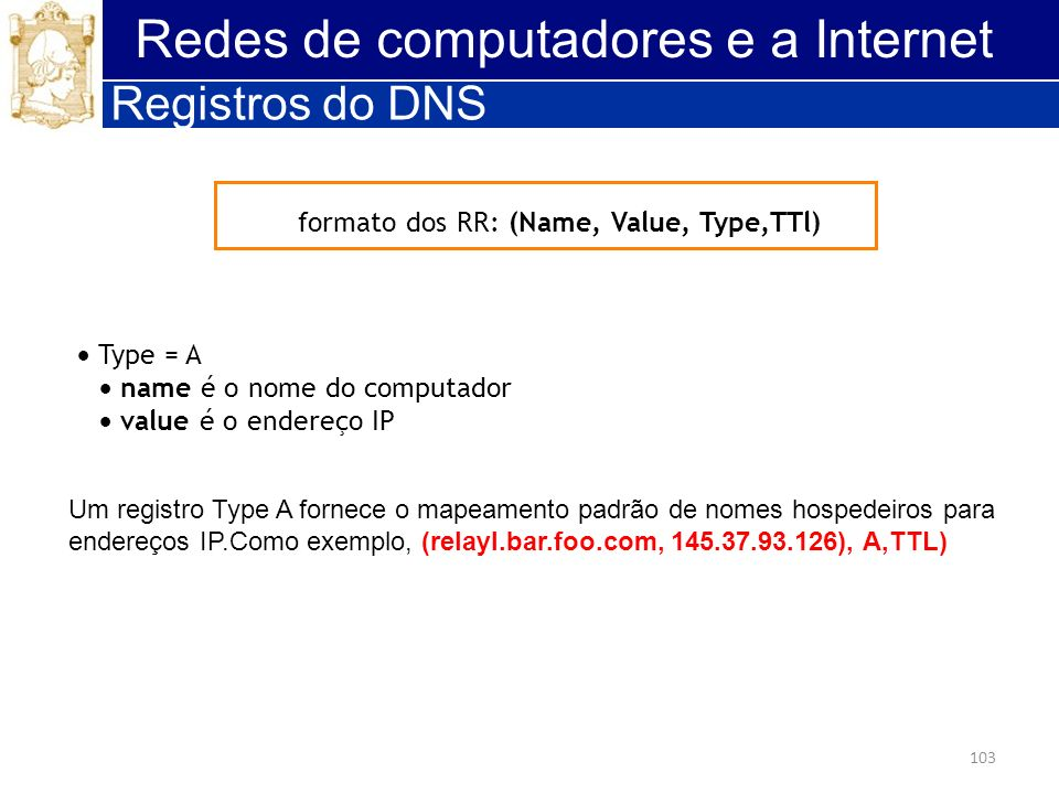 103 Redes de computadores e a Internet Registros do DNS formato dos RR: (Name, Value, Type,TTl) Type = A name é o nome do computador value é o endereç