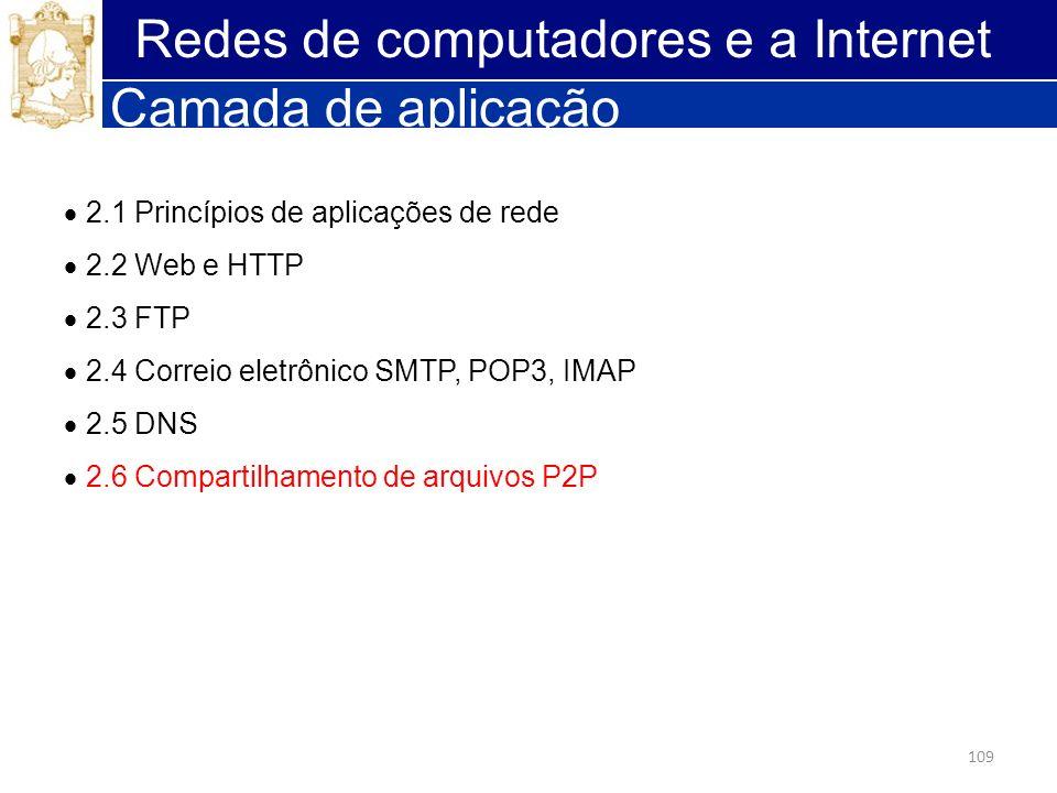 109 Redes de computadores e a Internet Camada de aplicação 2.1 Princípios de aplicações de rede 2.2 Web e HTTP 2.3 FTP 2.4 Correio eletrônico SMTP, PO