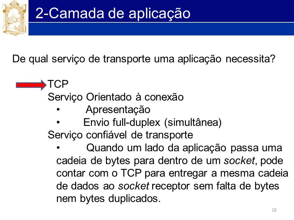 28 2-Camada de aplicação De qual serviço de transporte uma aplicação necessita? TCP Serviço Orientado à conexão Apresentação Envio full-duplex (simult
