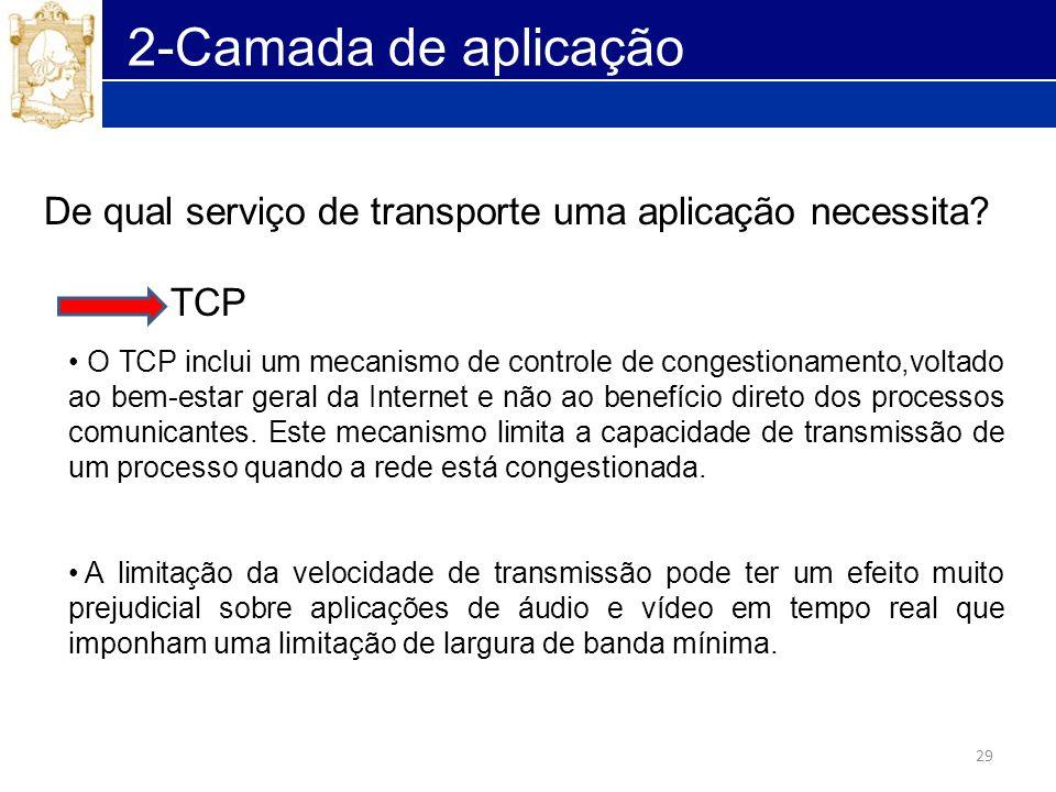 29 2-Camada de aplicação De qual serviço de transporte uma aplicação necessita? TCP O TCP inclui um mecanismo de controle de congestionamento,voltado