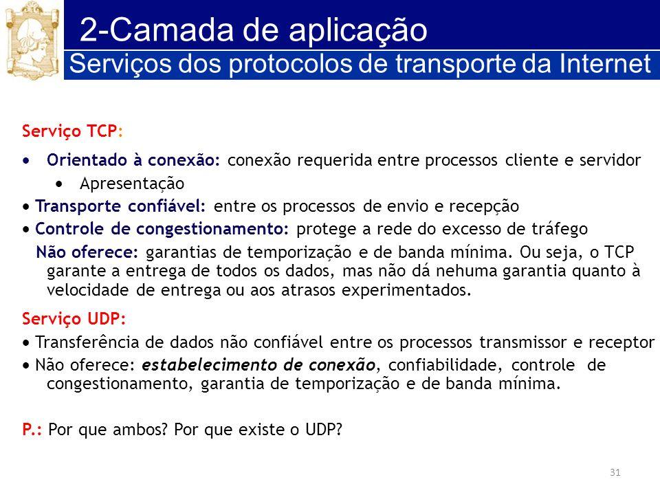 31 2-Camada de aplicação Serviços dos protocolos de transporte da Internet Serviço TCP: Orientado à conexão: conexão requerida entre processos cliente