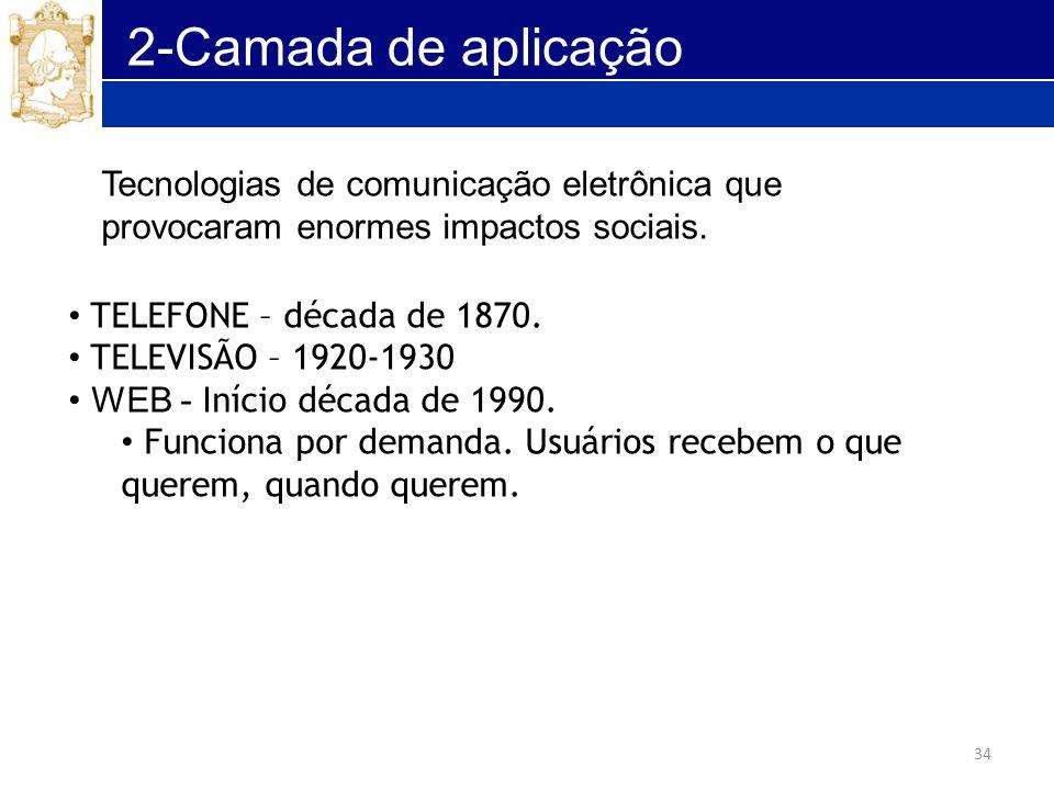 34 2-Camada de aplicação TELEFONE – década de 1870. TELEVISÃO – 1920-1930 WEB - Início década de 1990. Funciona por demanda. Usuários recebem o que qu
