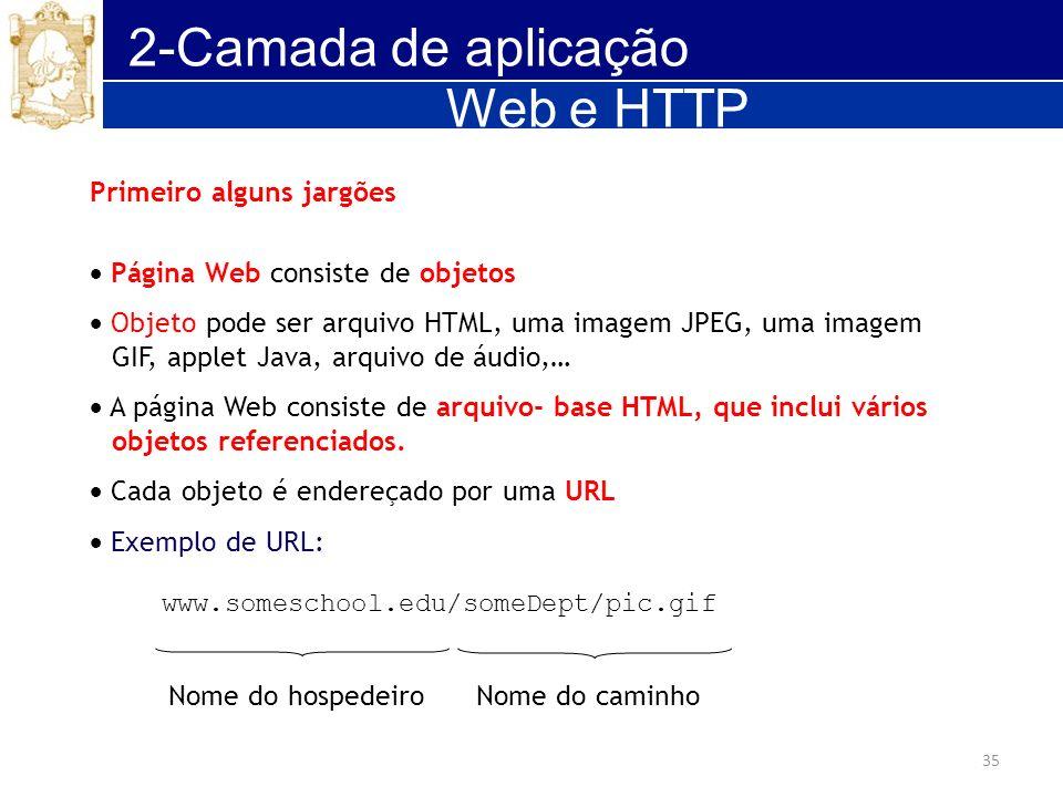 35 2-Camada de aplicação Web e HTTP Primeiro alguns jargões Página Web consiste de objetos Objeto pode ser arquivo HTML, uma imagem JPEG, uma imagem G