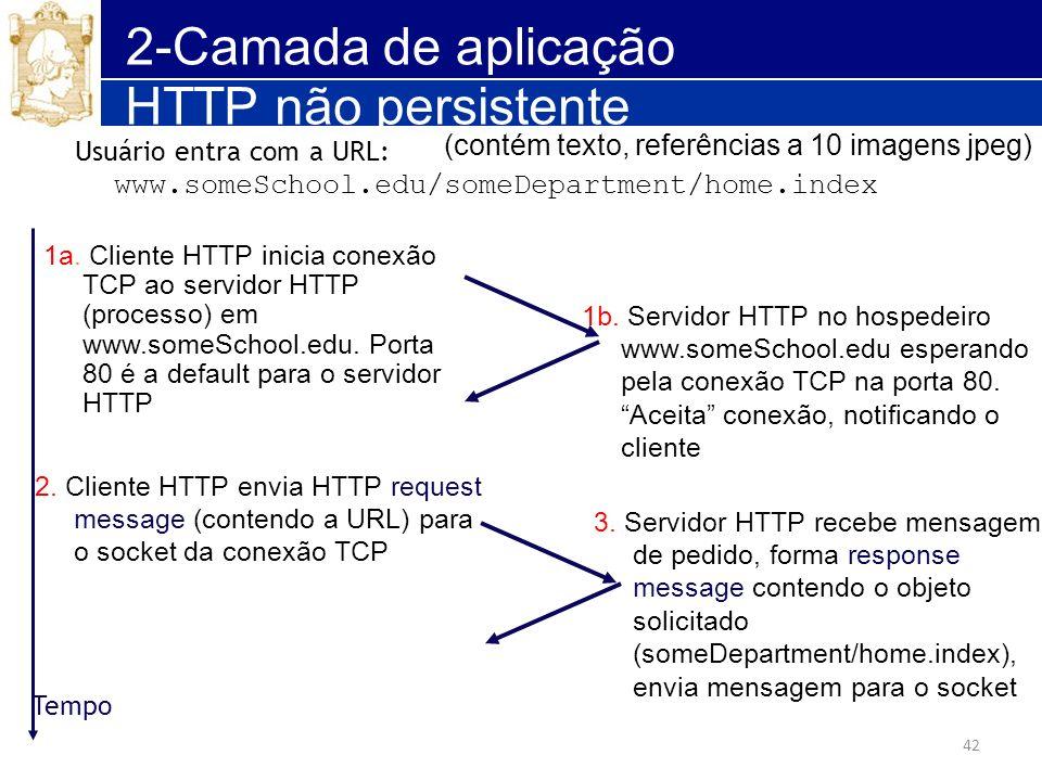 42 2-Camada de aplicação HTTP não persistente 1a. Cliente HTTP inicia conexão TCP ao servidor HTTP (processo) em www.someSchool.edu. Porta 80 é a defa