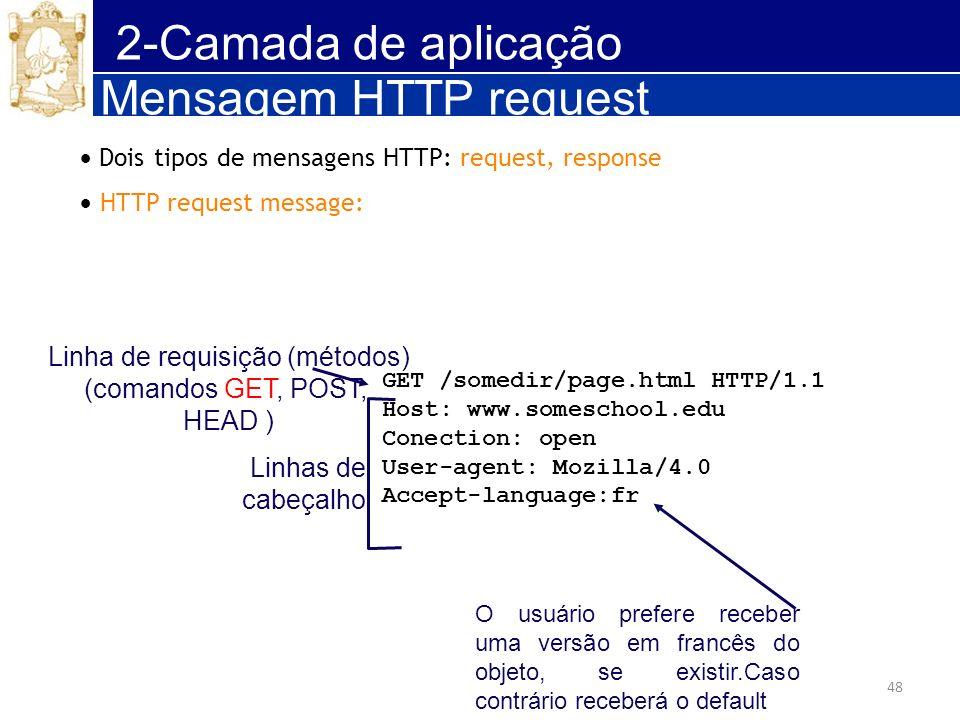48 2-Camada de aplicação Mensagem HTTP request Dois tipos de mensagens HTTP: request, response HTTP request message: GET /somedir/page.html HTTP/1.1 H