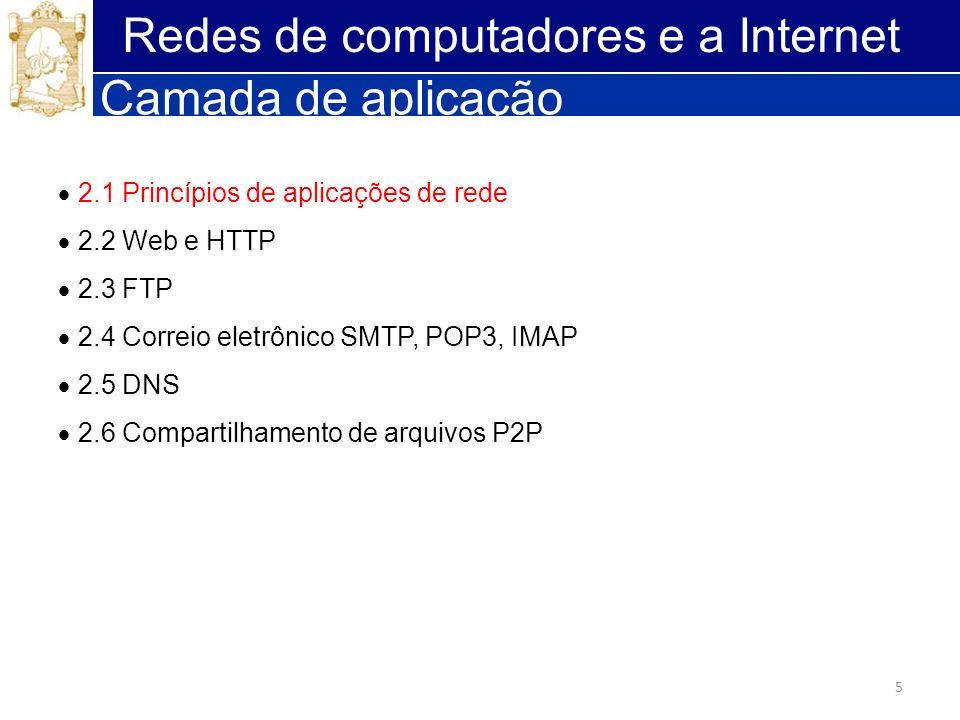 5 Redes de computadores e a Internet Camada de aplicação 2.1 Princípios de aplicações de rede 2.2 Web e HTTP 2.3 FTP 2.4 Correio eletrônico SMTP, POP3
