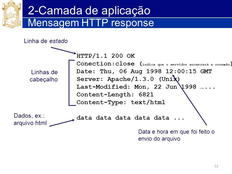 52 2-Camada de aplicação Mensagem HTTP response HTTP/1.1 200 OK Conection:close ( indica que o servidor encerrará a conexão ) Date: Thu, 06 Aug 1998 1