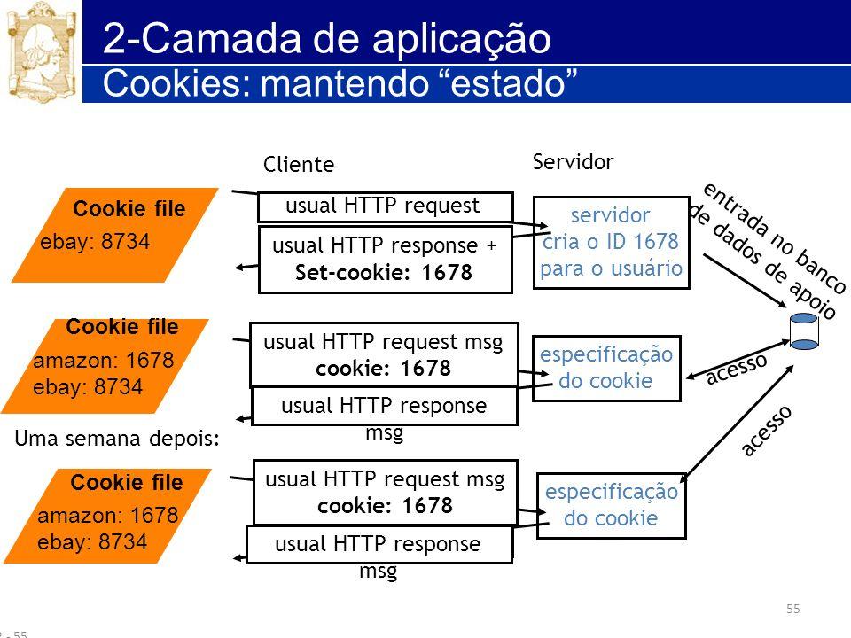 55 2-Camada de aplicação Cookies: mantendo estado 2 - 55 Cliente Servidor usual HTTP request msg usual HTTP response + Set-cookie: 1678 usual HTTP req