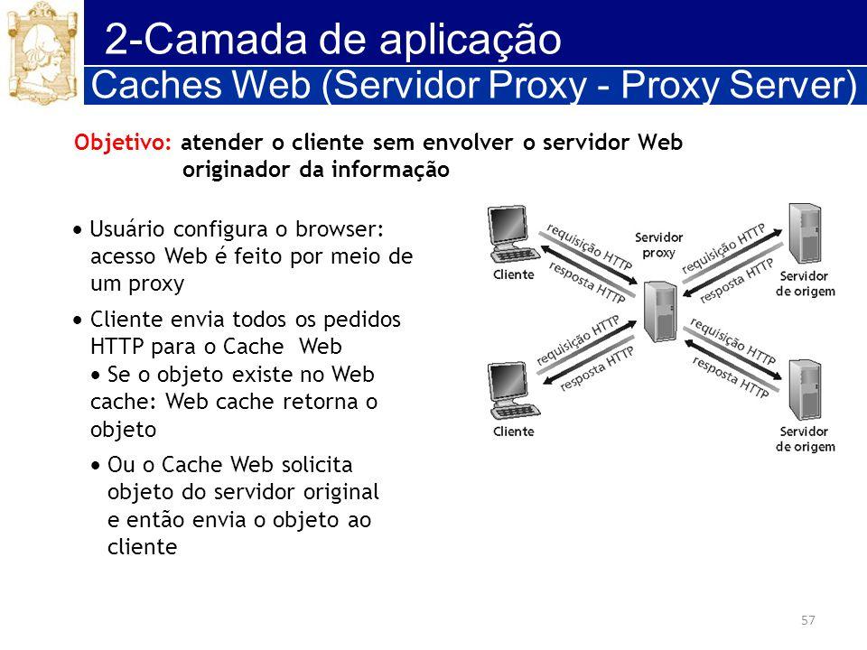 57 2-Camada de aplicação Caches Web (Servidor Proxy - Proxy Server) Objetivo: atender o cliente sem envolver o servidor Web originador da informação U
