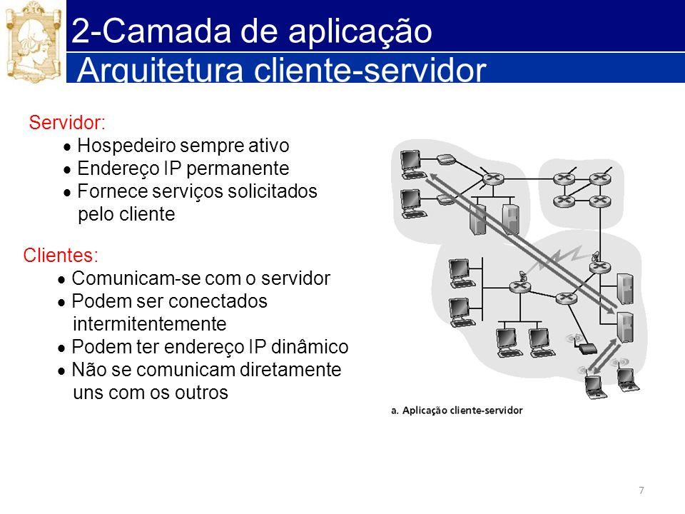 7 Arquitetura cliente-servidor Servidor: Hospedeiro sempre ativo Endereço IP permanente Fornece serviços solicitados pelo cliente Clientes: Comunicam-