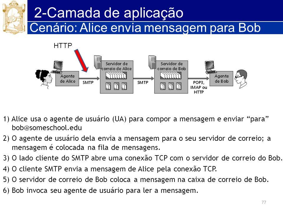 77 2-Camada de aplicação Cenário: Alice envia mensagem para Bob 1) Alice usa o agente de usuário (UA) para compor a mensagem e enviar para bob@somesch