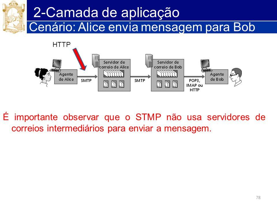 78 2-Camada de aplicação Cenário: Alice envia mensagem para Bob É importante observar que o STMP não usa servidores de correios intermediários para en