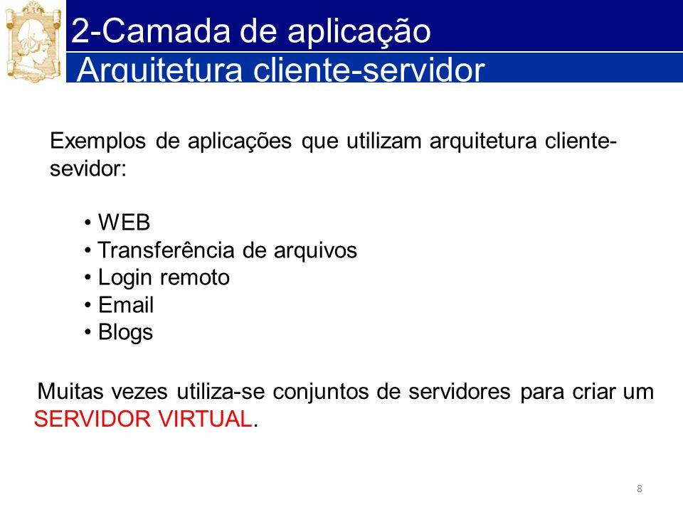 8 Arquitetura cliente-servidor Exemplos de aplicações que utilizam arquitetura cliente- sevidor: WEB Transferência de arquivos Login remoto Email Blog