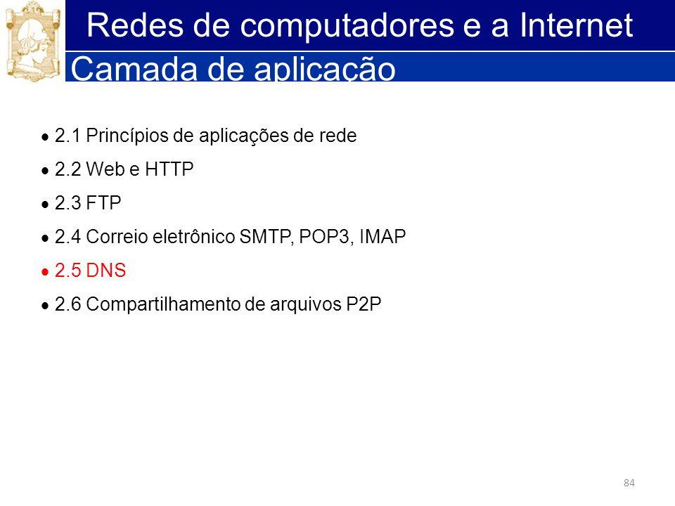 84 Redes de computadores e a Internet Camada de aplicação 2.1 Princípios de aplicações de rede 2.2 Web e HTTP 2.3 FTP 2.4 Correio eletrônico SMTP, POP