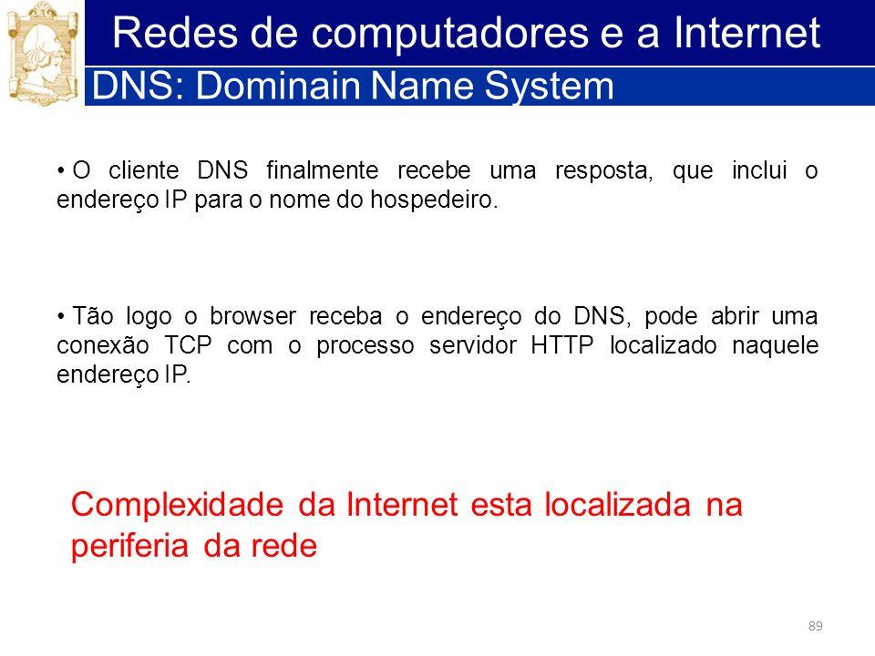 89 Redes de computadores e a Internet DNS: Dominain Name System O cliente DNS finalmente recebe uma resposta, que inclui o endereço IP para o nome do