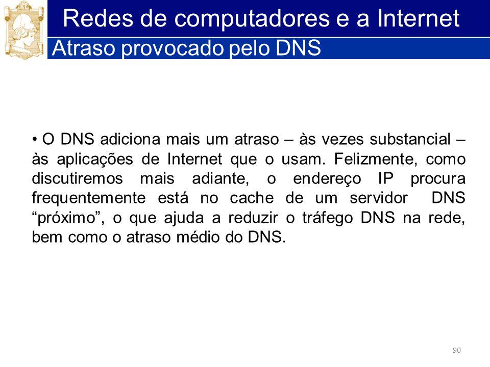 90 Redes de computadores e a Internet Atraso provocado pelo DNS O DNS adiciona mais um atraso – às vezes substancial – às aplicações de Internet que o