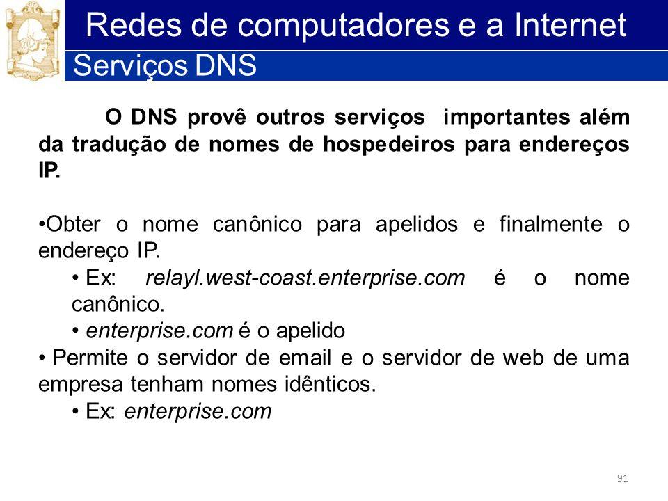 91 Redes de computadores e a Internet Serviços DNS O DNS provê outros serviços importantes além da tradução de nomes de hospedeiros para endereços IP.