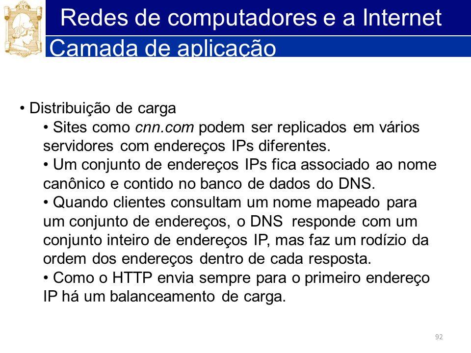 92 Redes de computadores e a Internet Camada de aplicação Distribuição de carga Sites como cnn.com podem ser replicados em vários servidores com ender