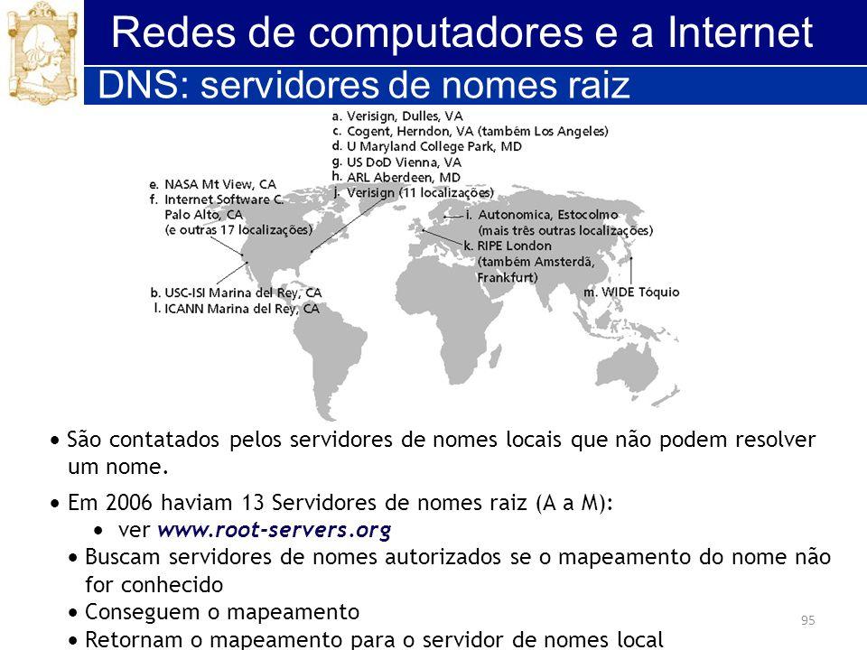 95 Redes de computadores e a Internet São contatados pelos servidores de nomes locais que não podem resolver um nome. Em 2006 haviam 13 Servidores de