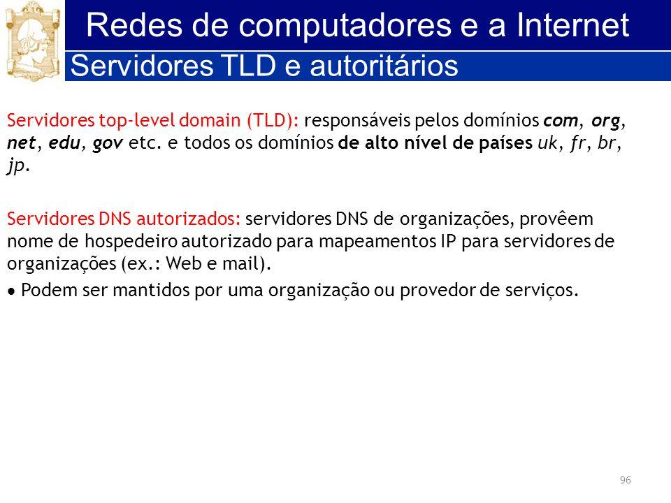 96 Redes de computadores e a Internet Servidores TLD e autoritários Servidores top-level domain (TLD): responsáveis pelos domínios com, org, net, edu,