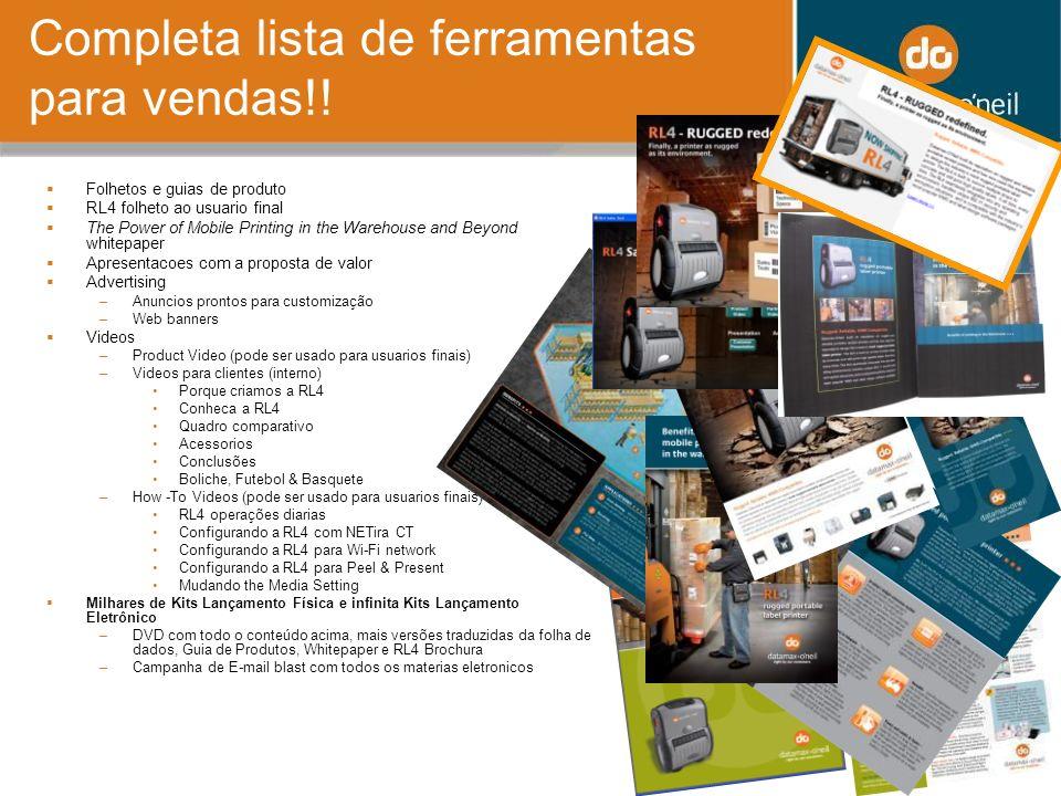 Completa lista de ferramentas para vendas!! Folhetos e guias de produto RL4 folheto ao usuario final The Power of Mobile Printing in the Warehouse and