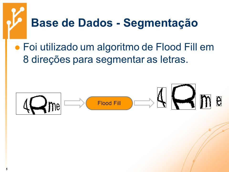 Base de Dados - Segmentação 5 Foi utilizado um algoritmo de Flood Fill em 8 direções para segmentar as letras. Flood Fill