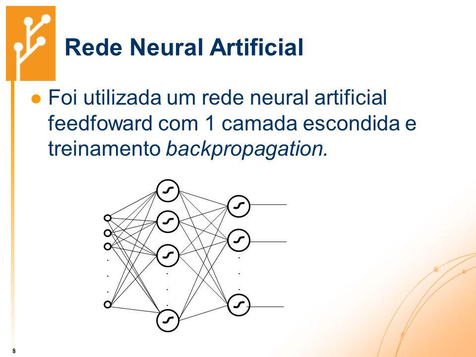 Rede Neural Artificial Foi utilizada um rede neural artificial feedfoward com 1 camada escondida e treinamento backpropagation. 8..................