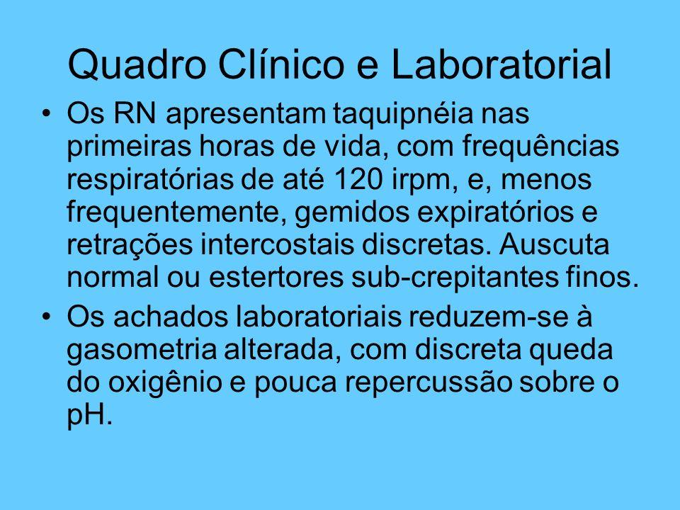 Quadro Clínico e Laboratorial Os RN apresentam taquipnéia nas primeiras horas de vida, com frequências respiratórias de até 120 irpm, e, menos frequen