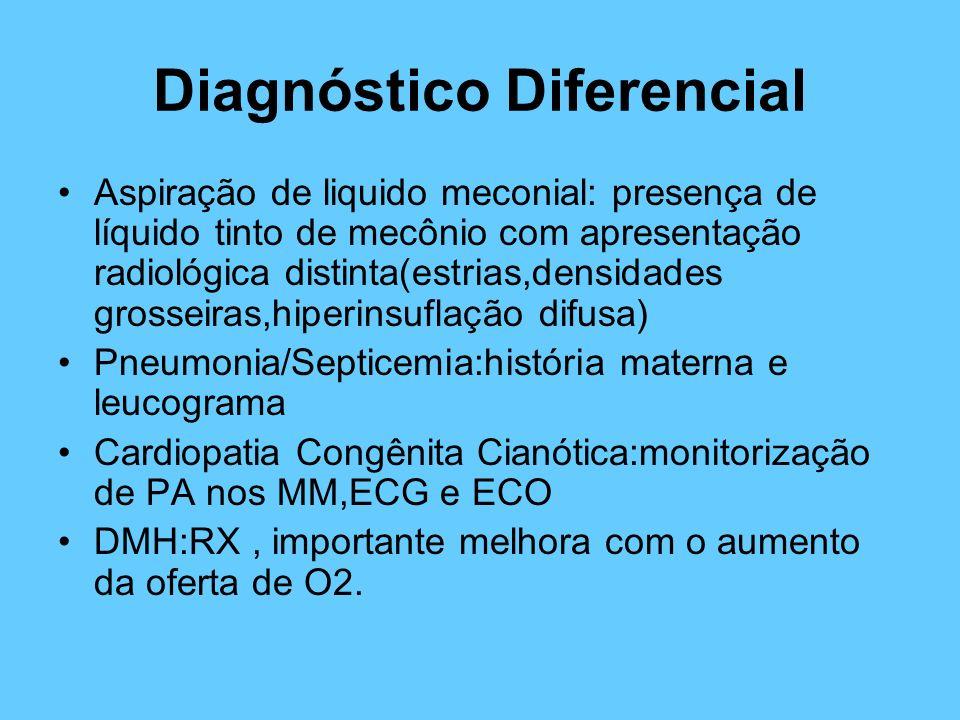 Diagnóstico Diferencial Aspiração de liquido meconial: presença de líquido tinto de mecônio com apresentação radiológica distinta(estrias,densidades g