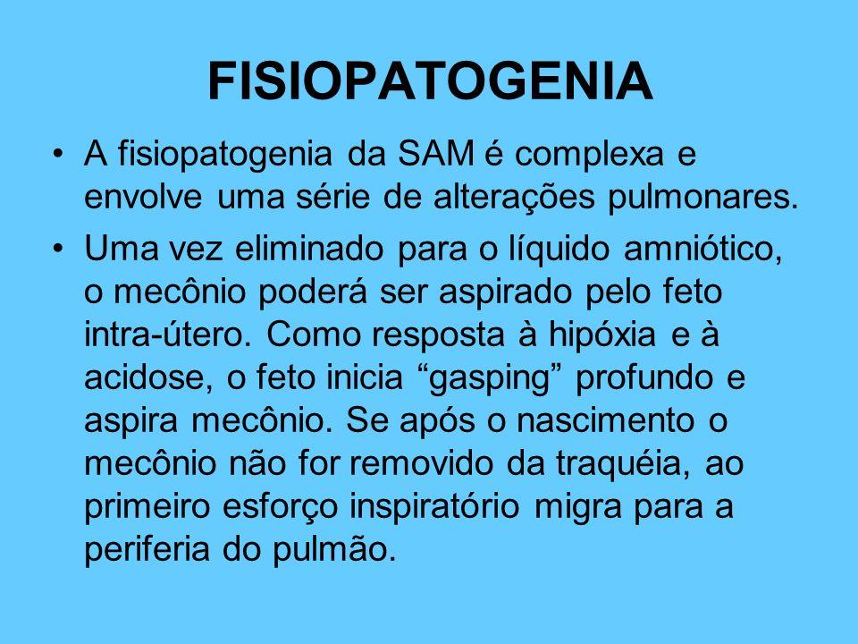 FISIOPATOGENIA A fisiopatogenia da SAM é complexa e envolve uma série de alterações pulmonares. Uma vez eliminado para o líquido amniótico, o mecônio