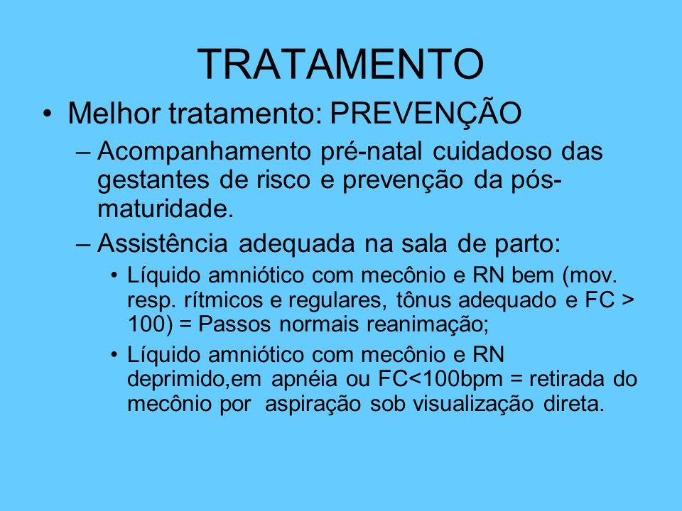 TRATAMENTO Melhor tratamento: PREVENÇÃO –Acompanhamento pré-natal cuidadoso das gestantes de risco e prevenção da pós- maturidade. –Assistência adequa