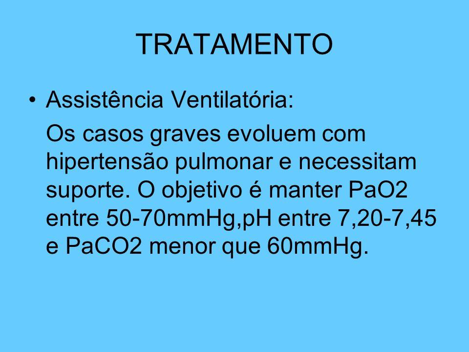 TRATAMENTO Assistência Ventilatória: Os casos graves evoluem com hipertensão pulmonar e necessitam suporte. O objetivo é manter PaO2 entre 50-70mmHg,p