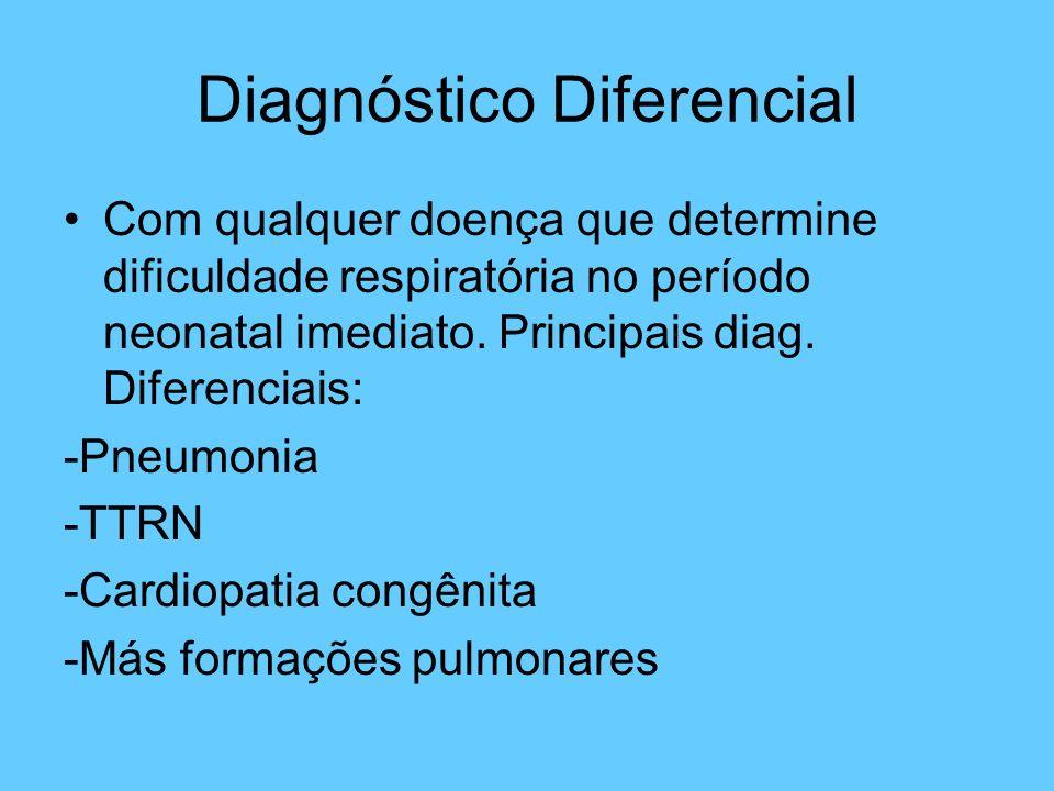 Diagnóstico Diferencial Com qualquer doença que determine dificuldade respiratória no período neonatal imediato. Principais diag. Diferenciais: -Pneum