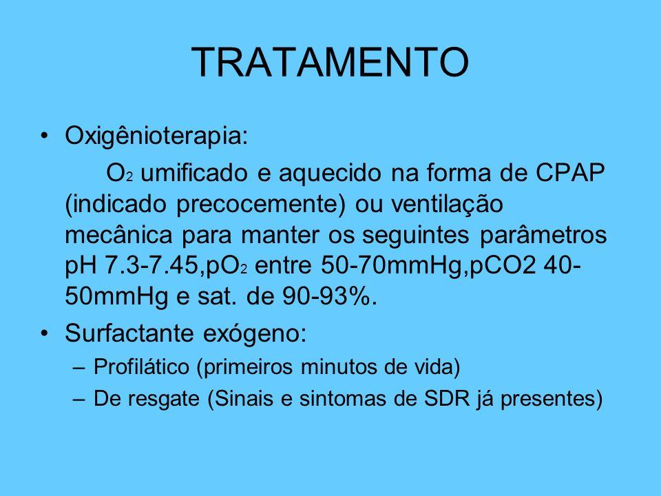 TRATAMENTO Oxigênioterapia: O 2 umificado e aquecido na forma de CPAP (indicado precocemente) ou ventilação mecânica para manter os seguintes parâmetr