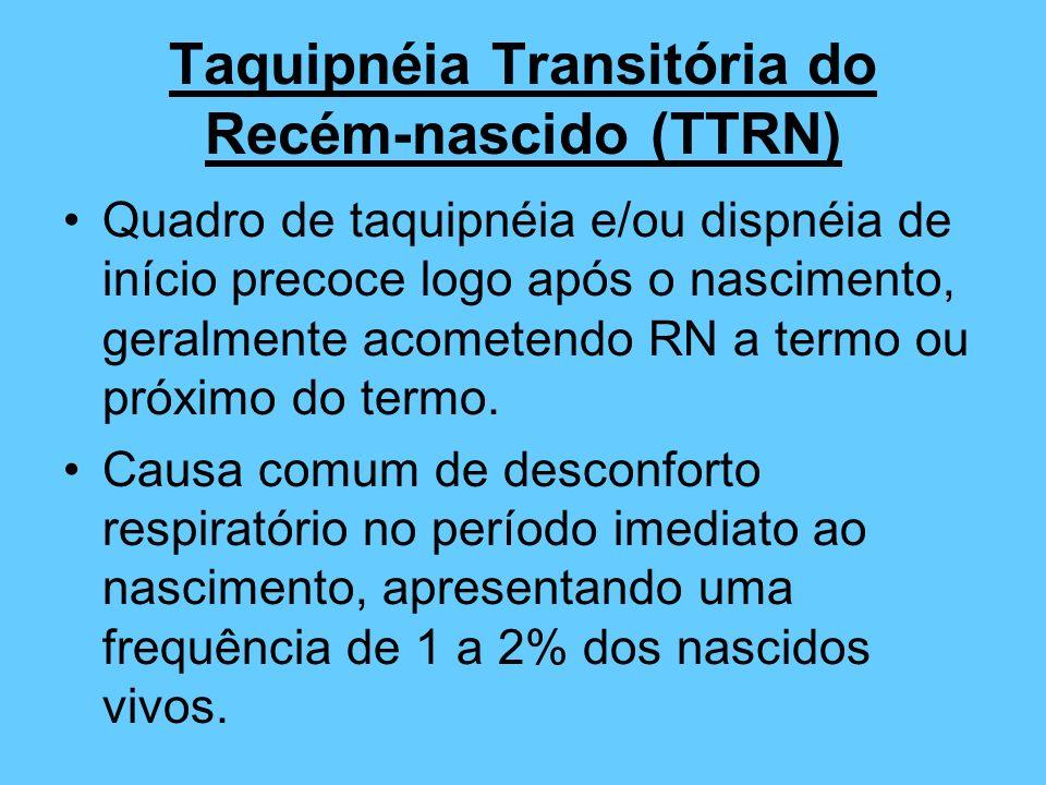Taquipnéia Transitória do Recém-nascido (TTRN) Quadro de taquipnéia e/ou dispnéia de início precoce logo após o nascimento, geralmente acometendo RN a